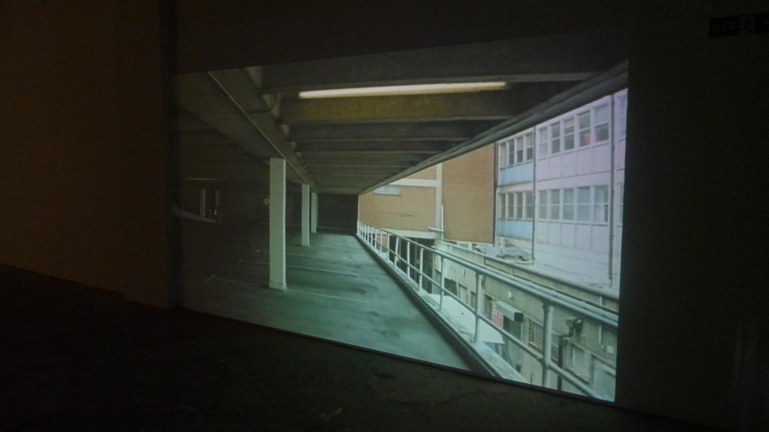 Installation shots, TWO WAY, Single Channel HD Video 8:38, 2013 Fabric, Platform Arts Belfast.